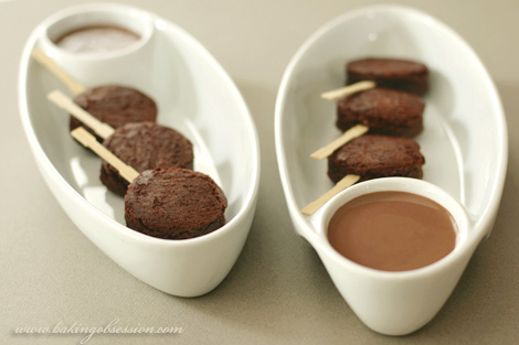Brownie Lollipops with Milk Chocolate and Caramel Sauces