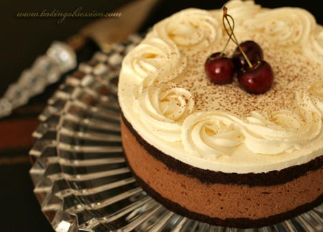 Chocolate  Zabaglione Torta with Grappa-Soaked Cherries