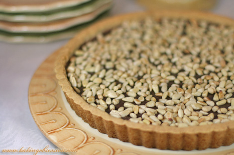 Chocolate Ricotta Tart with Pine Nuts