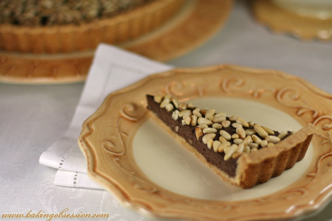 Chocolate Ricotta Tart with Pine Nuts (Slice)
