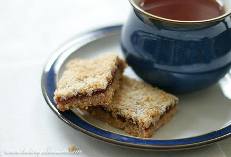 Oatmeal and Coconut Raspberry Jam Bars