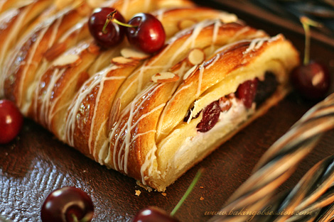 Chocolate and Curd Cheese Cherry Almond Danish Braid Inside