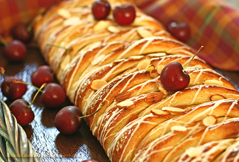 Chocolate and Curd Cheese Cherry Almond Danish Braid