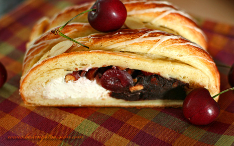 Chocolate and Curd Cheese Cherry Almond Danish Braid Inside 2