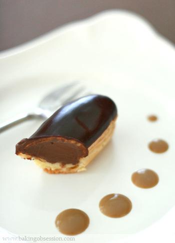 Mocha Éclairs with Espresso Cream Anglaise Sauce Inside