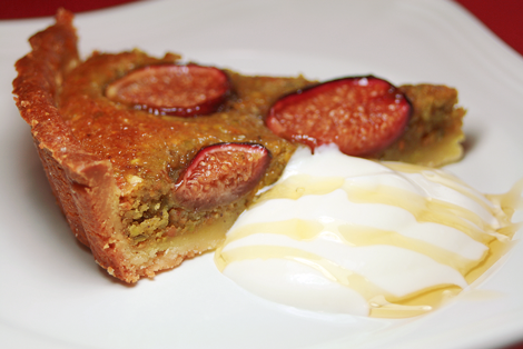 Fresh Fig and Pistachio Frangipane Tart (slice)