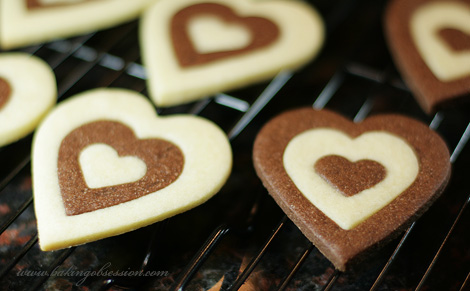 Chocolate and Vanilla Heart-Shaped Sugar Cookies