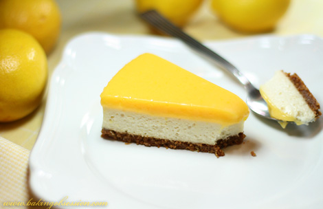 Lemon Cheesecake with Lemon Curd Topping Slice