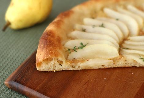 Hazelnut and Honey Thyme Roasted Pear Pizza Slice