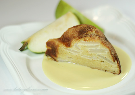 Curd Cheese Zapekanka with Pears and Honey-Flavored Crème Anglaise Slice