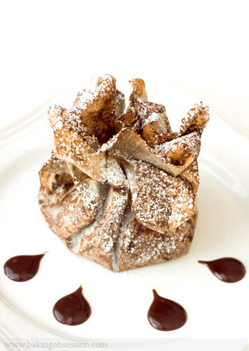 Chocolate Marzipan Stuffed Figs in Chocolate Phyllo Purses with Caramel-Chocolate-Spice Sauce