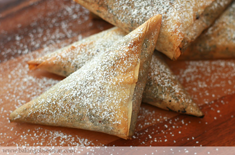 Chocolate Phyllo Triangles with Cream Cheese and Almonds/Pecans Stuffed Apricots/Prunes
