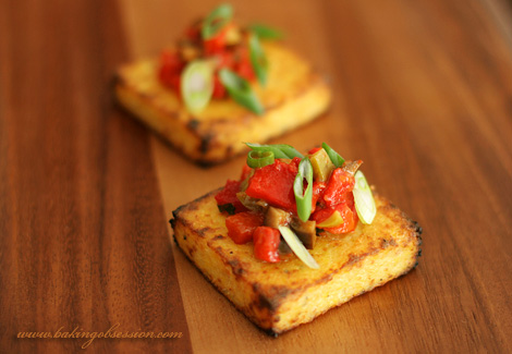Spicy Grilled Polenta Crostini with Roasted Peppers and Olives