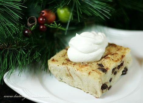 Raisin-Eggnog Bread Pudding (piece)