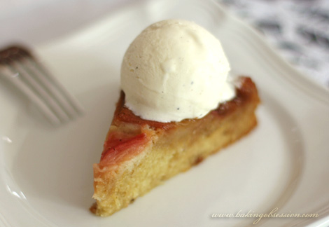 Rhubarb and Anise Upside Down Cake Slice