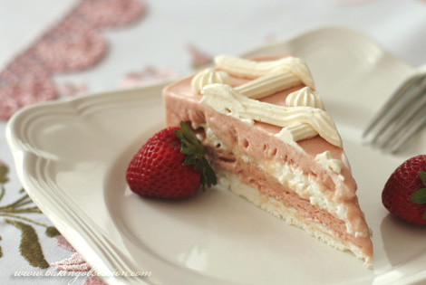 Frozen Rhubarb and Strawberry Meringue Torte Slice