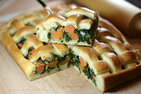 Spinach, Onions, and Yams Pie Slice