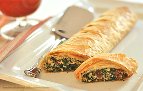Tofu, Spinach and Sun-Dried Tomatoes Strudel with Red Pepper Sauce
