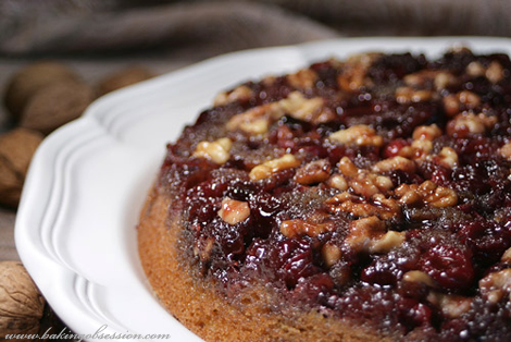 Cranberry Walnut Upside-Down Cake