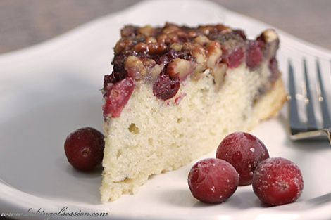 Cranberry Walnut Upside-Down Cake (slice)